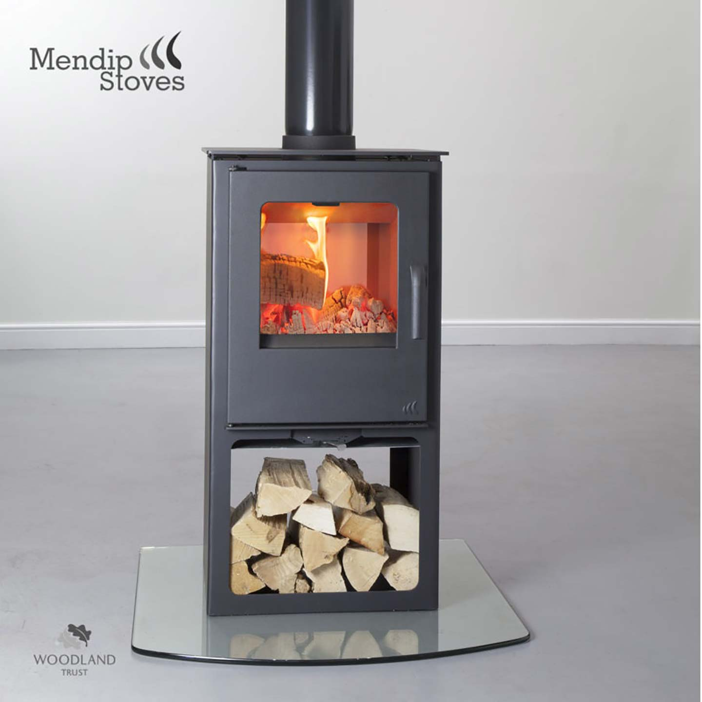 Mendip Loxton 8 Double Sided Multifuel Stove With Logstore